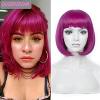 purple short synthetic bob wig 12 straight green pink wigs with bangs natural heat resistant lolita cosplay bob wig for women
