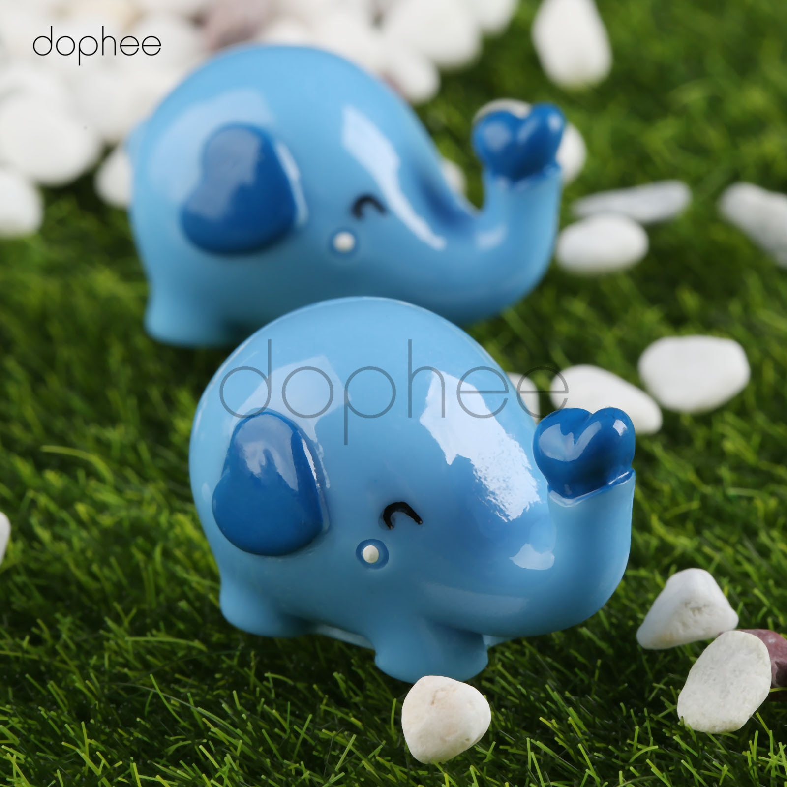 dophee 2pcs  30*19mm Mini Cute Cartoon Elephant DIY Resin Fairy Garden Craft Decoration Miniature Micro Gnome Terrarium Gift