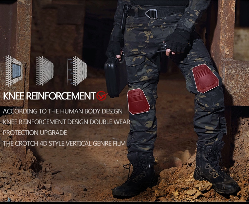Купить с кэшбэком Tactical Pants Cargo Pants with Knee Pad Men Hiking Pants Military Pant SWAT Army Airsoft Clothes Hunter Field Combat Trouser
