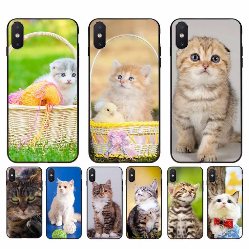 FHNBLJ lindo gato funda para teléfono para iphone 11 Pro Max X XS X máx. 6s 6 7 8 plus 5 5S 5SE XR SE2020