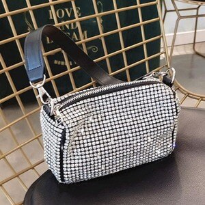 Sliver Rhinestone Clutch Purse Evening Party Women Diamonds Hand Clutches Sexy Business Shoulder Bags Luxury Brand Phone Pouch