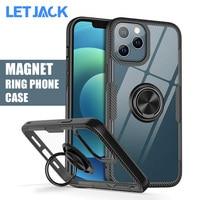 Магнитный Прозрачный чехол для телефона iPhone 12 X XS 11 Pro Max и iPhone SE 2020 XR X 8 7 6S 6 Plus, противоударный чехол с кольцом-держателем