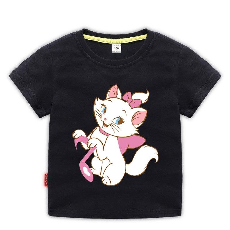 Camiseta de manga corta para bebés y niñas de 11 colores, camiseta de gato Marie Aristocats para niñas de 1 a 10 años