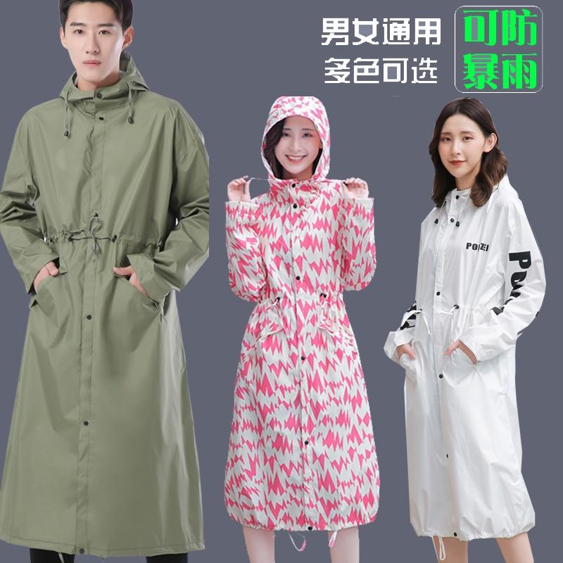Chubasquero Anti-lluvia estilo largo para hombres con cremallera para adultos senderismo moda impermeable rompevientos todo el cuerpo Poncho mujeres ropa de lluvia