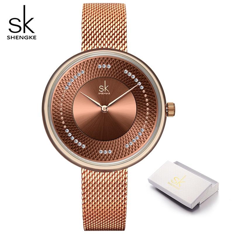 Часы наручные SHENGKE Женские повседневные, люксовые брендовые, простые Кварцевые водонепроницаемые