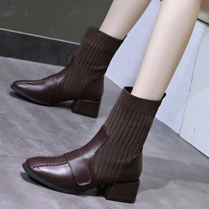 2021 Fashion Square Toe Ankle Boots Cow Leather Knitting Slip on Women Shoes Winter Square Heel Short Boots Size 34-39