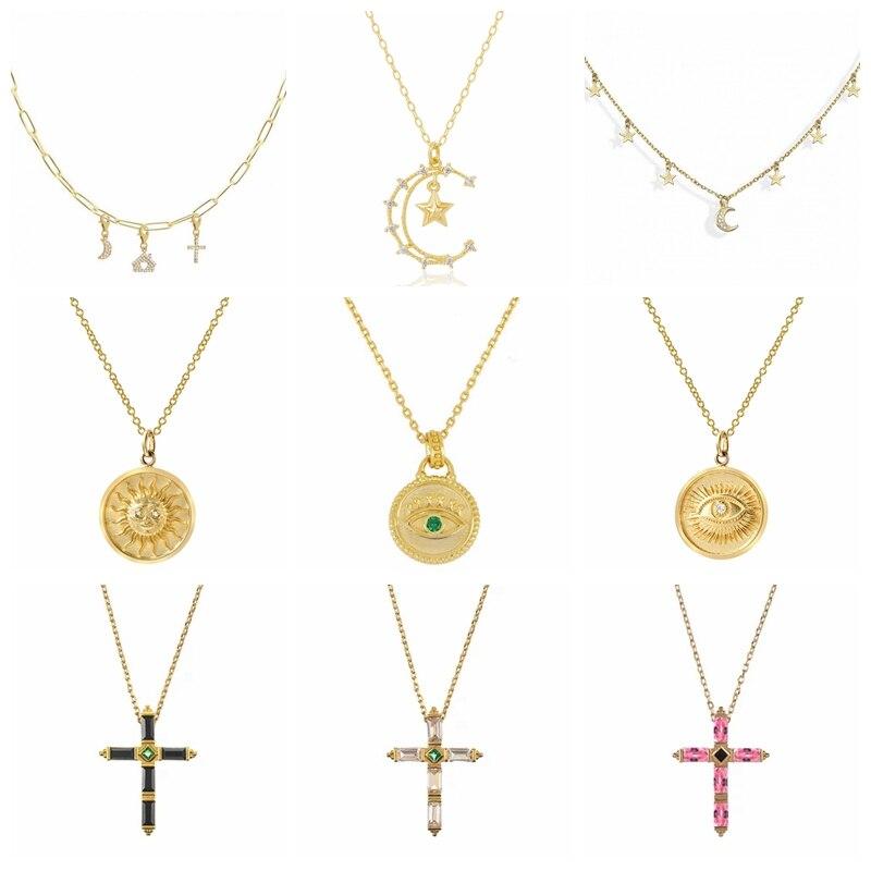 aide-2021-тенденция-925-стерлингового-серебра-ожерелья-для-женщин-с-изображением-крестообразной-Звезды-Луна-многослойное-украшение-на-шею-в-Под