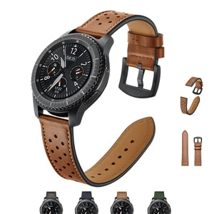 22mm Genuine Leather watch Band For Samsung Gear S3 Frontier galaxy 46 Handmade Replacement Strap for Huami Amazfit Pace Strato