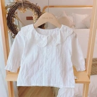 girls lace shirt spring and autumn childrens lapel long sleeve shirt all match girl cotton white top