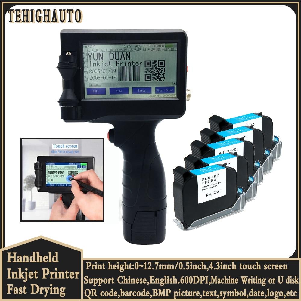 4.3 Inch Inkjet Printer 12.7mm Image QR Code Serial Number Portable Mask Online Printer Hand Jet Handheld Thermal Inkjet Printer