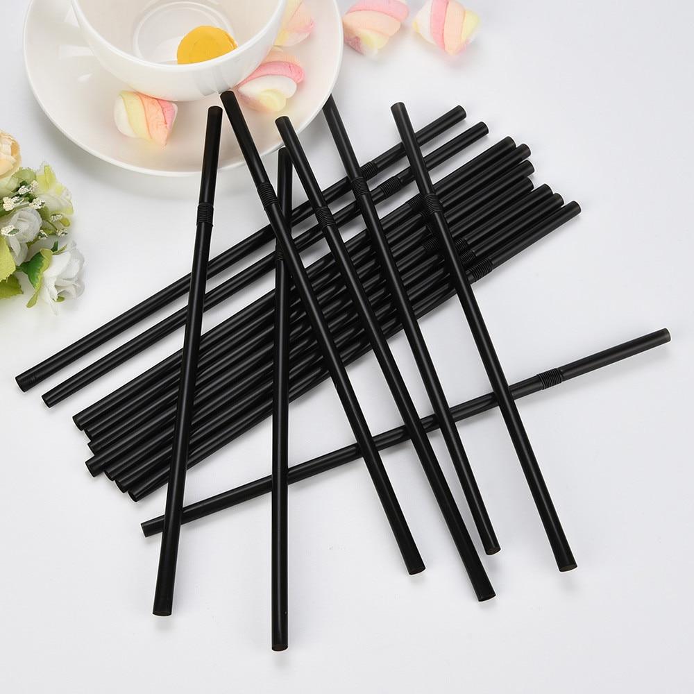 pajitas-de-plastico-para-beber-100-uds-260mm-256mm-210mm-largas-flexibles-negro-suministros-para-fiestas-de-boda