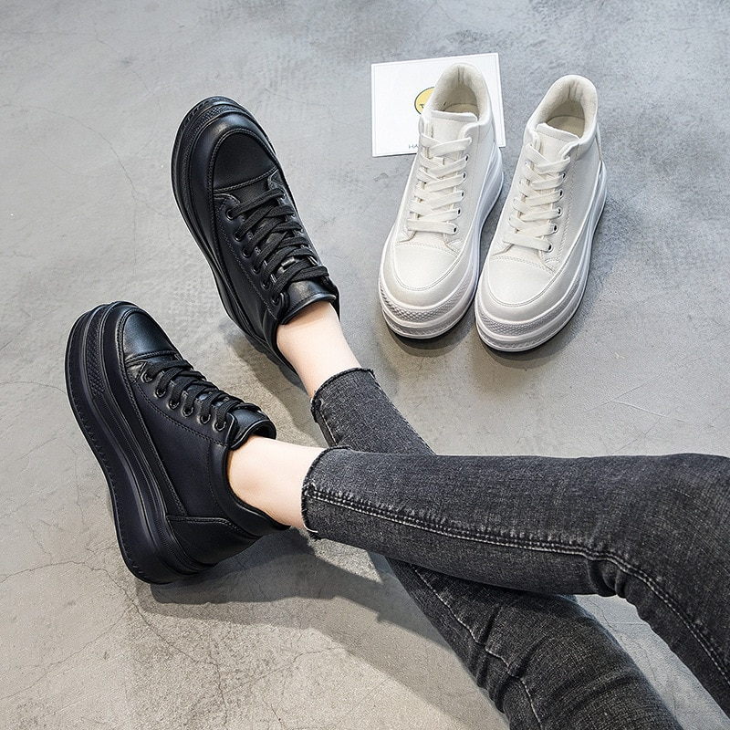 Spring and autumn 8 cm height increase shoes single Casual Plus Velvet Womens Shoes Korean Thick-Soled White