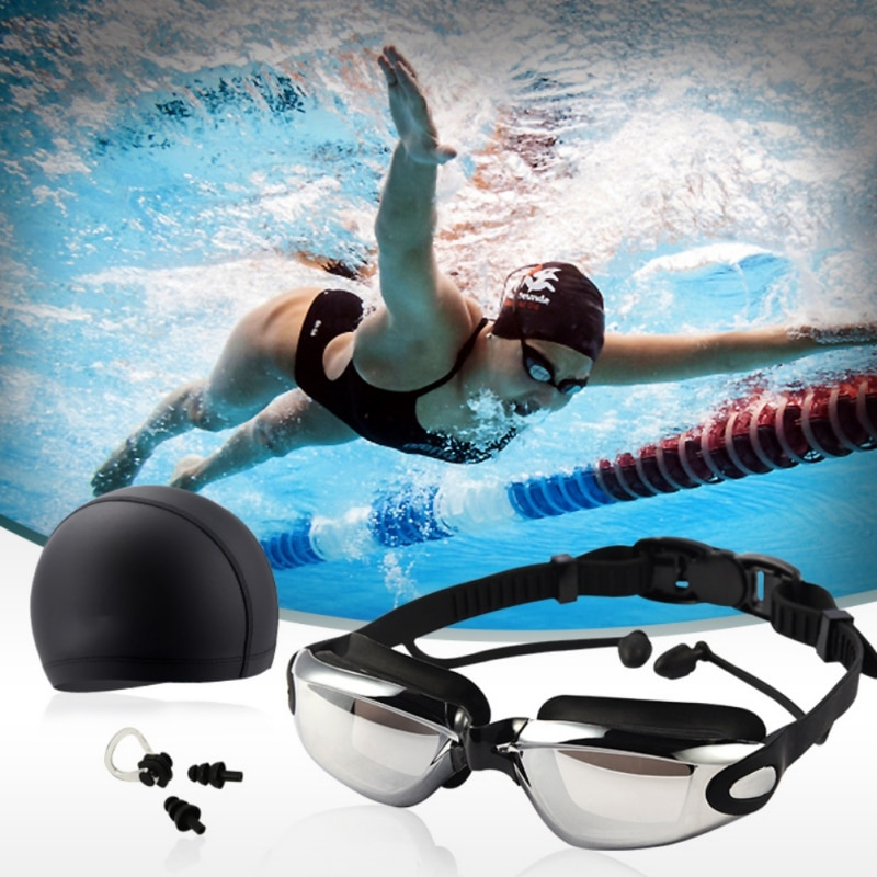 Swimming Goggles Kit High Definition Waterproof Anti-fog Glasses Large Frame Lens Eyewear With Swim Hat Ear Plug Nose Clip