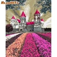 ruopoty diy coloring by numbers garden castle wall art painting by numbers modern home art canvas colouring 60x75cm