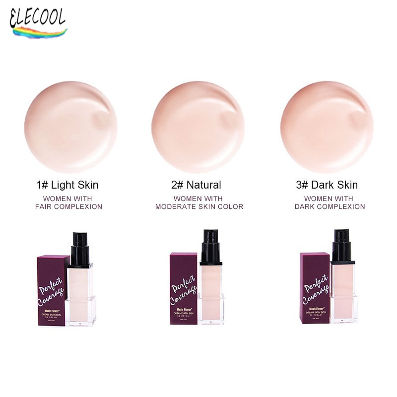 ELECOOL Face Liquid Foundation Full Concealer Whitening Makeup Cosmetic Waterproof Bright BB Cream N
