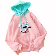 Lilo & Stitch Cartoon Print Hoodies Women Spring Autumn Fleece Casual Streetwear Harajuku Spell Color Splicing Hooded Sweatshirt