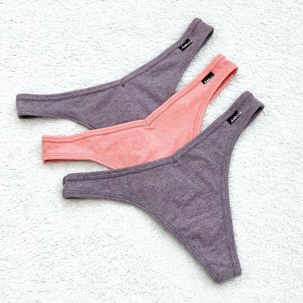 3 pçs/lote v cintura de algodão g-string tanga calcinha de corda cuecas femininas sexy lingerie calças baixo-rise senhoras íntima t volta