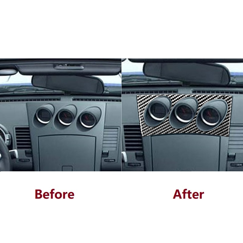 Fit For Nissan 350Z Z33 2003-2009 Central tilt meter Frame Carbon Sticker Radio Air Console Panel Cover Car Accessories enlarge
