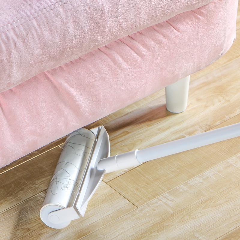 Trapeador retráctil de papel adhesivo de desmontaje, mopa de polvo para suelo, mopa para polvo, removedor de pelo de alfombra, Herramientas de limpieza de polvo con mango largo