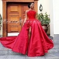 red satin formal evening dress with feather 2020 long chapel train side split strapless a line prom dresses robe de soiree