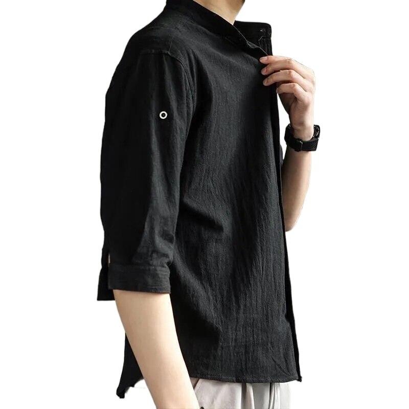 قميص قطن صيفي قصير الأكمام الترفيه اليابان أسود أبيض قميص فضفاض نصف كم قميص