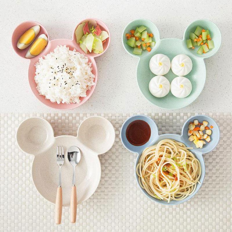 Tazón de ratón de dibujos animados, vajilla, caja Bento para niños, bebés, caja de almuerzo infantil, tazón para alimentar, tazón para trigo, vajilla de paja, plato de aperitivos