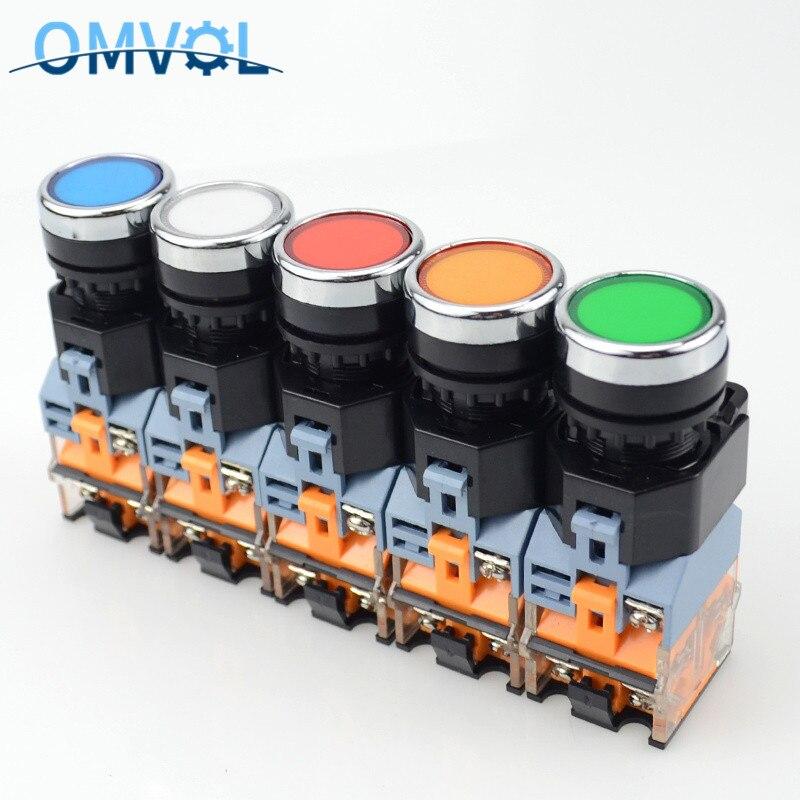 1PC 22mm momentáneo y de auto-bloqueo interruptor de botón de empuje con la luz 12V 12V 24V 220V 380V indicadores LED