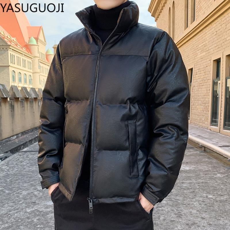 YASUGUOJI Fashion Stand Collar Men`s Pu Leather Cotton Padded Jacket Slim Fit Winter Coat Men Parka Thicken Puffer Jacket Men