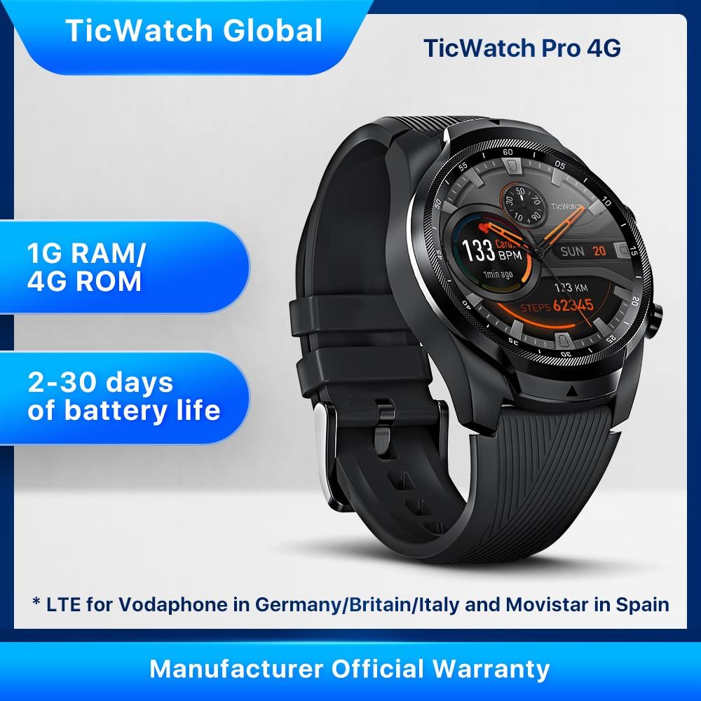 TicWatch Pro 4G/LTE 1GB RAM Sleep Tracking Swim-Ready IP68 Waterproof NFC Pay LTE for Vodaphone in DE/IT/UK &Movistar in Spain