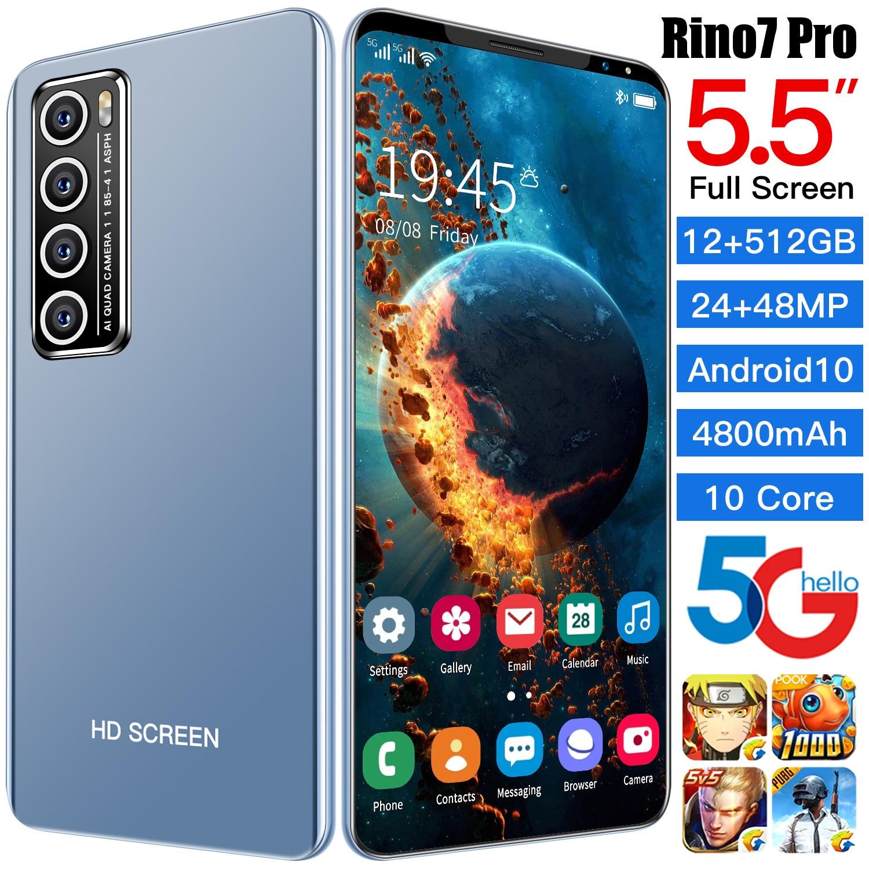 R7 Pro 5g النسخة الجديدة 5.5 مع 8 + 128gb الهاتف الذكي أندرويد هاتف محمول فتح المزدوج سيم 24 + 48 ميجابكسل مقفلة هاتف محمول s