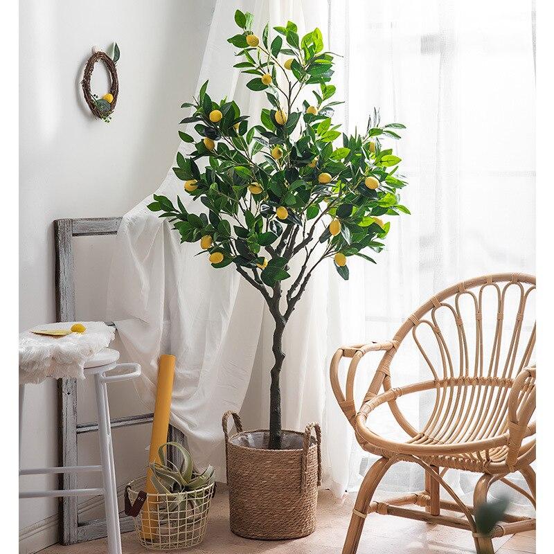 أشجار الليمون الاصطناعية الكبيرة النباتات الخضراء زينة النباتات الخضراء أشجار بونساي وهمية في المكتب
