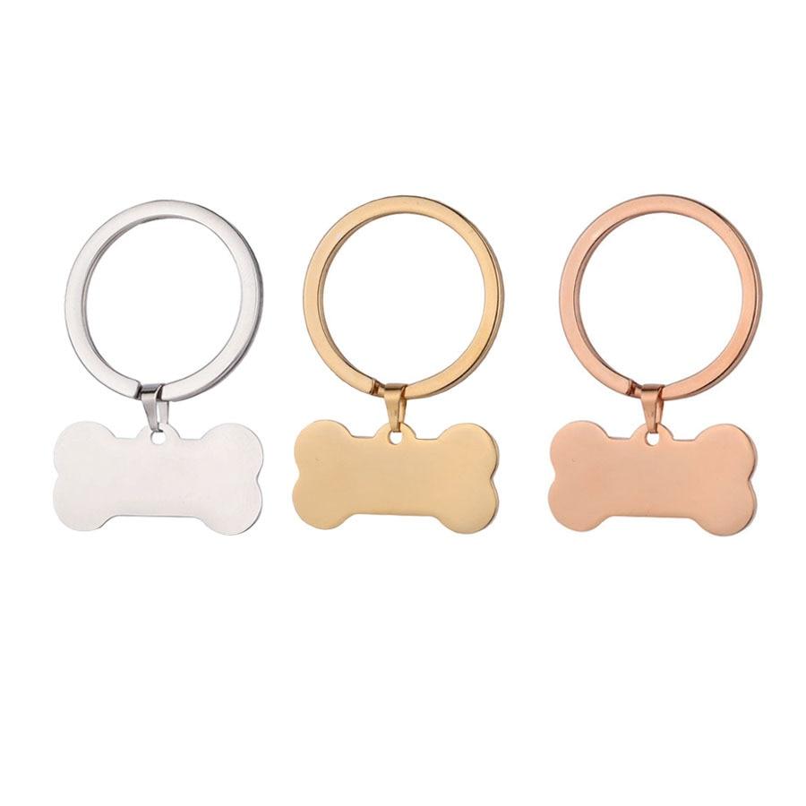100% Stainless Steel Blank Dog Bone Charm Keychain For Engrave DIY Metal Bone Tag Keychains Key Ring Mirror Polished 10pcs
