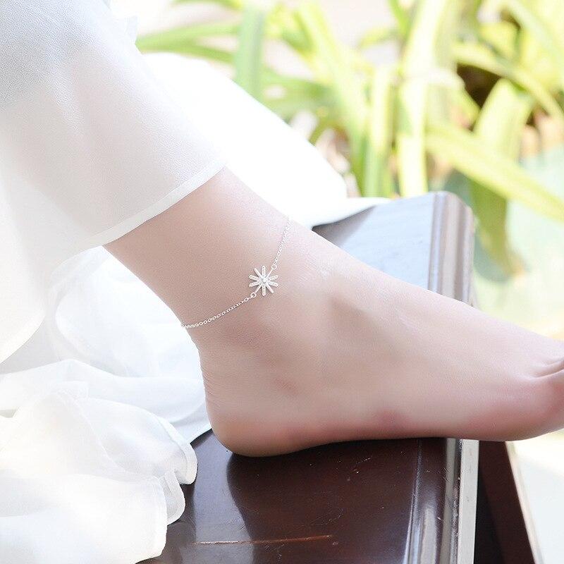 925 Sterling Silver Link Chain Crystal Star Bead Charm Korean Bracelet &Bangle Anklet For Women Wedding Jewelry SL110