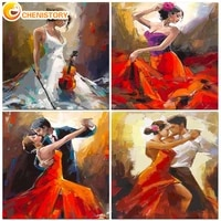 chenistory oil painting by numbers dance for drawing adult kit on canvas with frame acrylic handpainted paint home decoration