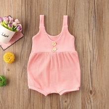 0-24M Newborn Infant Baby Girls Rompers Summer Sleeveless Causal Button Solid Jumpsuits Cute Baby Gi