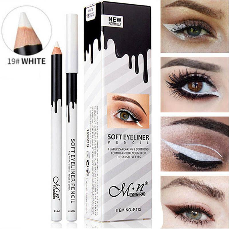 Lápiz Delineador de ojos blanco, resistente al agua, suave, Lápiz Delineador de ojos, fácil de poner, delineador de ojos blanco, cosméticos para mujeres