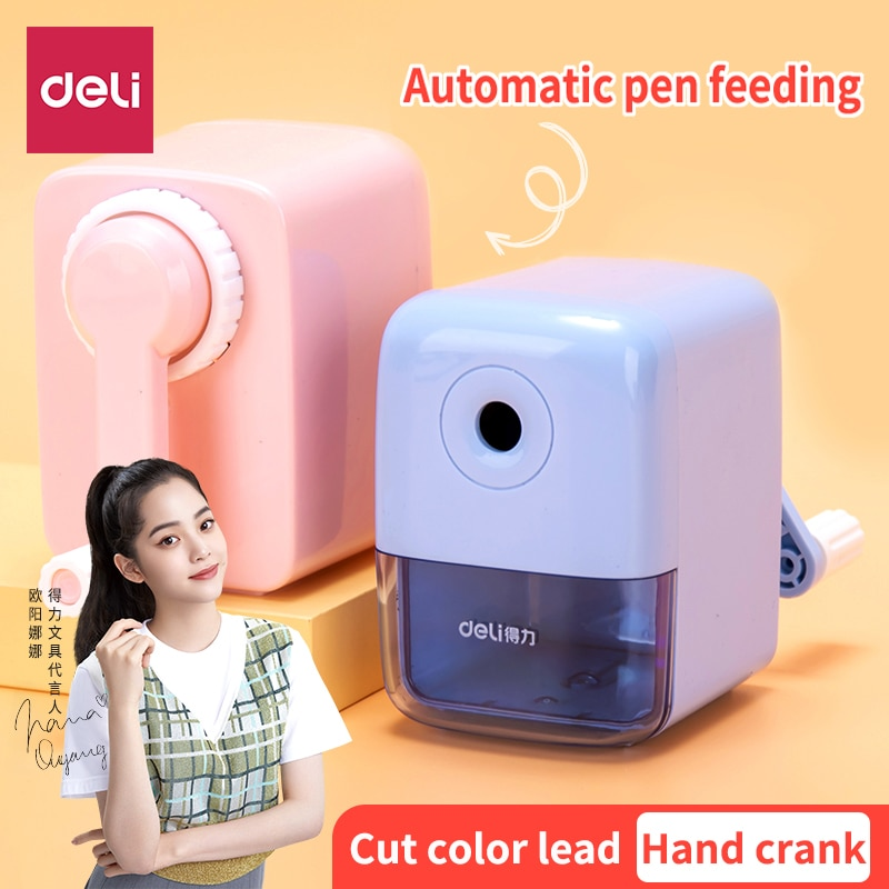 Deli Pencil sharpener student For children Automatic lead Hand crank Multifunction art Planer Sharpen a pencil
