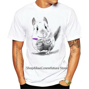 Antidazzle Short Sleeve Chinchilla Male T-Shirts Summer Custom Tees Shirts Man 100%Cotton O-Neck Clothing TShirt Of Adult