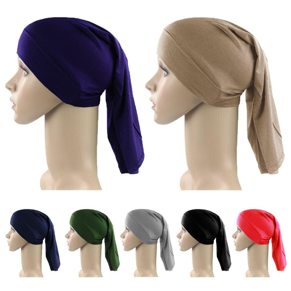 Простая Женская внутренняя мусульманская длинная хиджаб головной убор Кепка ниндзя шапка Bone Tube исламский, арабский головной убор шапочки п...