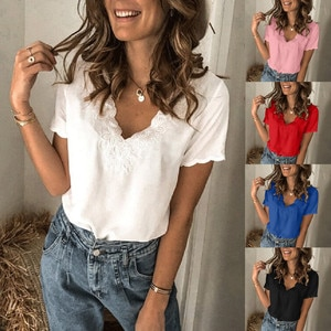 40# lace Embroidery Elegant Blouse Women Casual solid color V-Neck Short Sleeves Blouse Tops office lady blouses Female Roupas