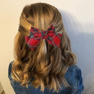 Christmas 2020 Red Plaid Fabric Bowknot Hair Clips Top Head Ponytail Hairpin Girls School Party Headwear Hairgrip Xmas Hairbow