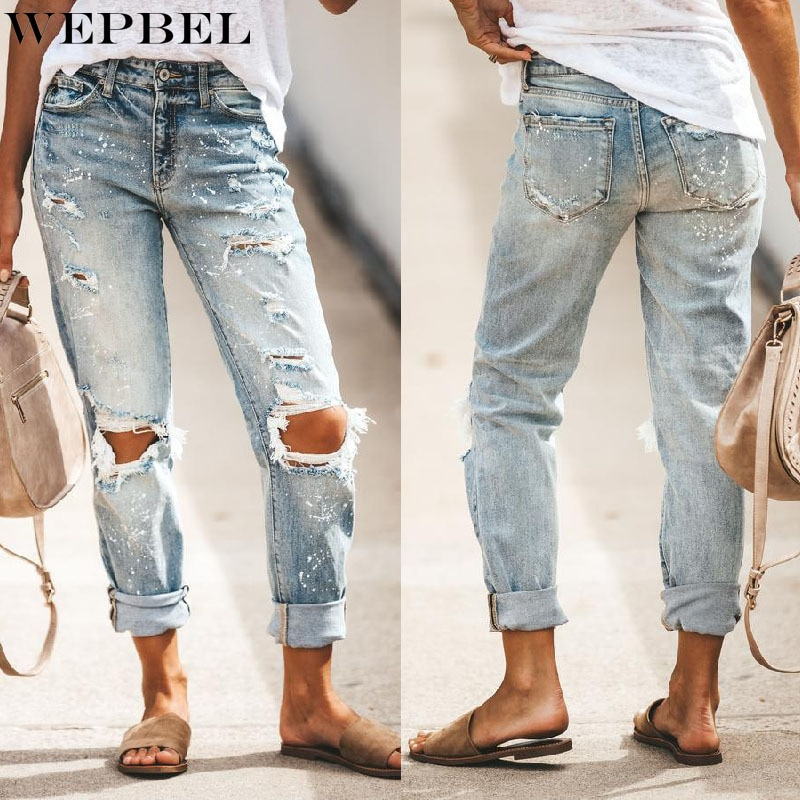 straight leg mid rise faded jeans WEPBEL Jeans Women's Casual Solid Color Ripped Jeans Summer Fashion Mid Waist Button Pocket Denim Straight-Leg Pants