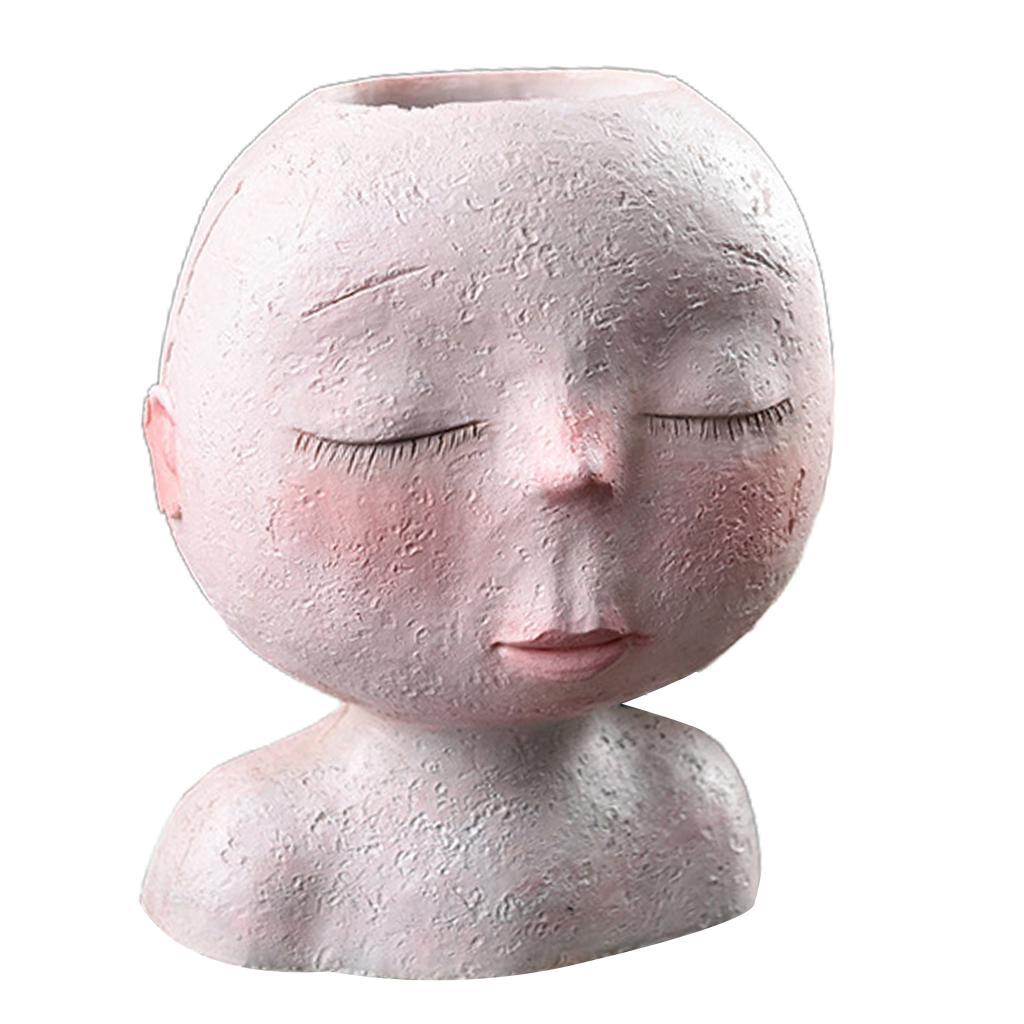 Resina retrato artístico escultura de pote de flor nórdica cabeza humana jarrón jardín casa decoración planta jarrón maceta suculenta olla pluma H