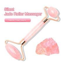 Rodillo masajeador facial de doble cabeza Jade piedra manos de elevación facial relajación de la piel adelgazamiento belleza cuidado de la salud belleza conjunto de caja