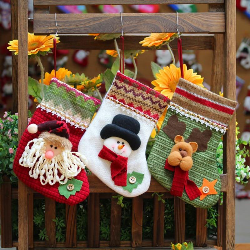 Boneco de neve meias meia natal ornamentos árvore natal meias ano novo presente titular sacos de presente de natal gato do cão de estimação