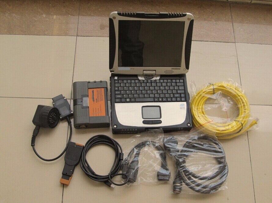Para bmw carro & ferramenta de varredura da motocicleta para bmw icom a2 b c d com software 500gb hdd com portátil cf19 obd todos os cabos pronto para usar