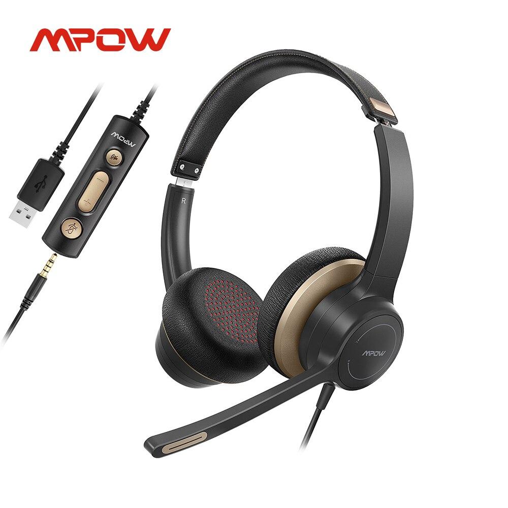 Mpow HC6 USB سماعة رأس سلكية 3.5 مللي متر على الأذن الكمبيوتر سماعة رأس بمايكروفون كتم ل سكايب مركز الاتصال سماعات لأجهزة الكمبيوتر المحمول