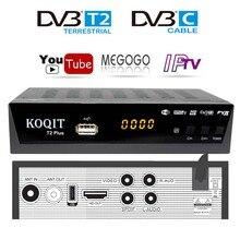 Decodificador sin contrato DvbT2 Tv cable afinador Receptor DVB T2 con youtube Megogo Dvb-C Dvb-t2 Digital Tv caja USB Wifi IPTV m3u jugador AC3
