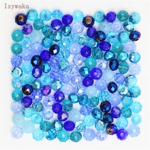 Isywaka azul Multicolor 3*4mm 145 Uds Rondelle Austria facetadas cuentas de vidrio de cristal espaciador suelto cuentas redondas para la fabricación de joyas