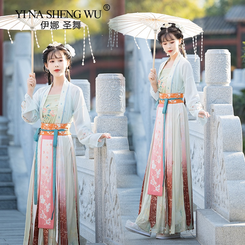 Ancient Hanfu Chinese Cosplay Traditional Folk Dance Costume Women Dress Oriental Style Tang Dynasty Dance Fairy Stage Clothing